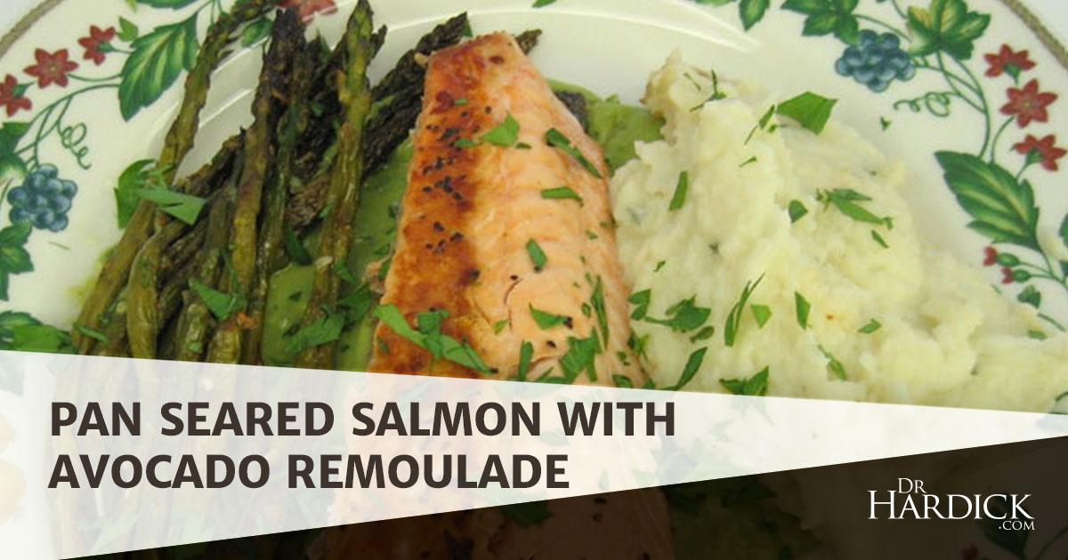 Pan Seared Salmon With Avocado Remoulade Recipe — Dishmaps