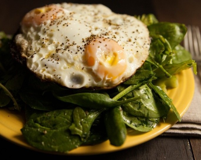 Paleo Breakfast Salad with Eggs Over Easy
