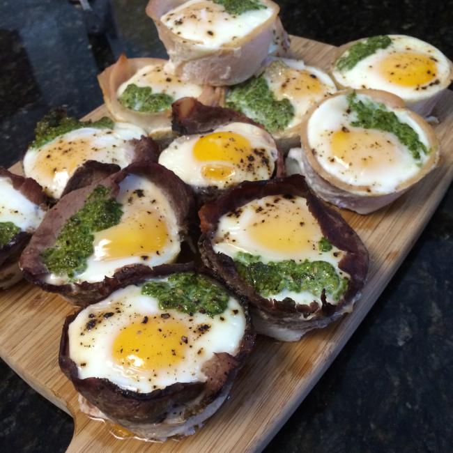 Easy Pesto Turkey Roast Beef Smoked Salmon Egg Muffins