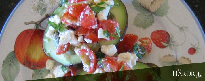 Avocado Halves Stuffed With Tomato and Feta