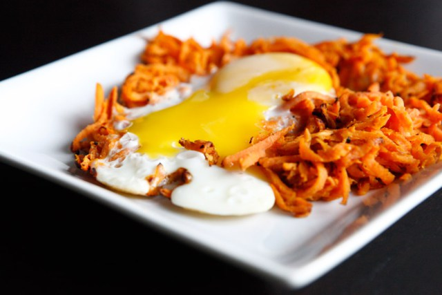 Sweet Potato Hash and Sunny Side Up Egg
