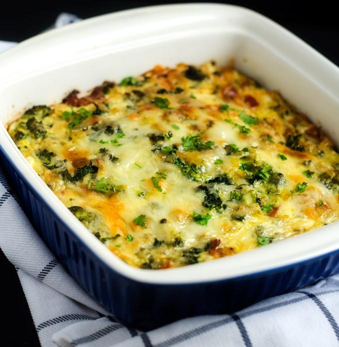 Broccoli Kale Breakfast Casserole