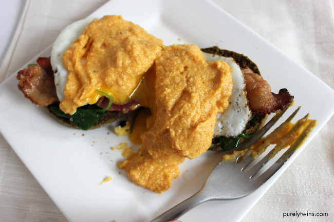 Pumpkin Eggs Benedict with Pumpkin Hollandaise Sauce
